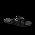 Мъжки чехли от естествен велур с лак в черен цвят GN-1204 - 1t