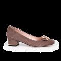 Дамски обувки от естествен щампован велур - 1t