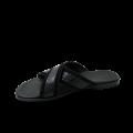 Мъжки чехли от естествен велур с лак в черен цвят GN-1204 - 2t
