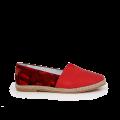Дамски обувки от естествена червена кожа и велур  - 1t