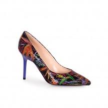 Дамски обувки от естествена кожа с ефектна щампа CP-2587