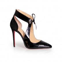 Дамски обувки от естествен лак и велур ILV-1301
