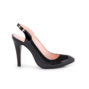 Ladies shoes made of natural patent leather and black suede Т1-203-40-1