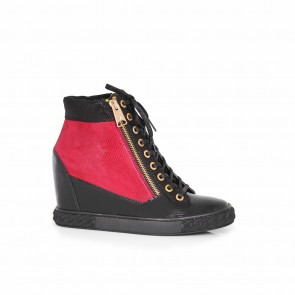 Ladies sneakers patent leather and suede  H1-14-937-black/bordo