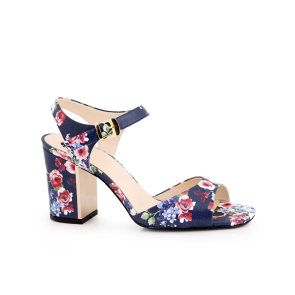 Ladies sandals in blue with floral print T1-339-04-1