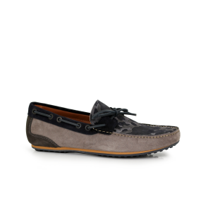 Male moccasins suede in gray and camouflage AJJS-54/T-730