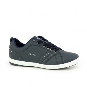 Ladies sports shoes blue eco leather with eyelets 41810