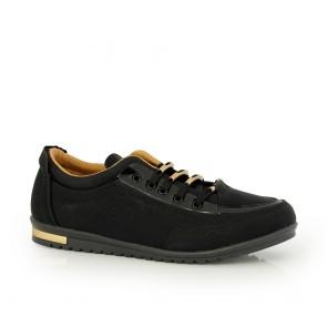 Ladies sports shoes black eco leather  DM-46415