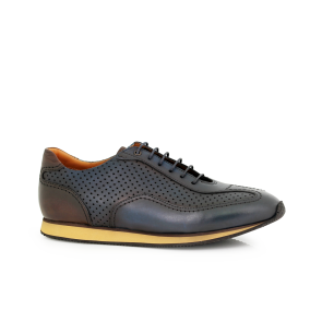 Male sports leather shoes in blue МВ-4469-1