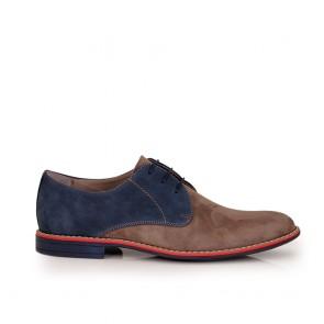 Male casual suede shoes beige/blue color CP-3662
