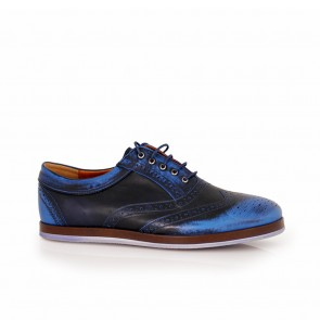 Male sports leather shoes CP-918S/08-black/blue