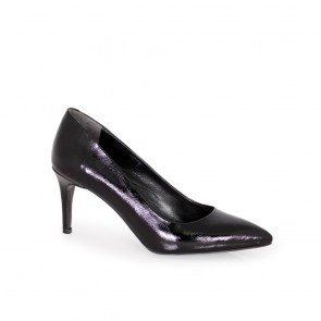 Ladies shoes natural patent leather black T1-277-04