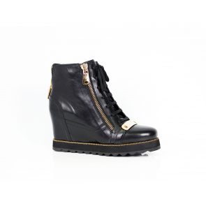 Black leather sneakers T1-297-05-2