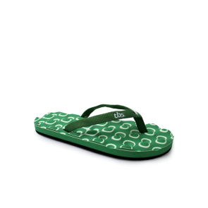 Ladies slippers made of Eve resettlement and textiles KOYAMA green
