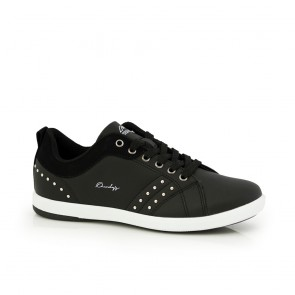 Ladies sports shoes black eco leather and eyelets  41810