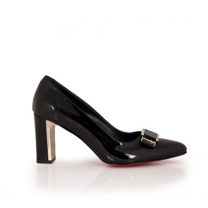 Ladies patent leather shoes black color NL-12-52