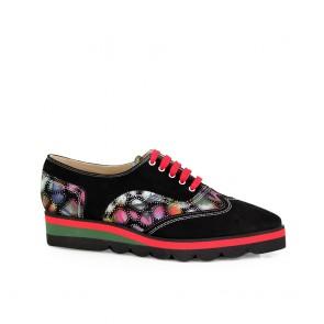 Ladies sports shoes natural black suede NL-302-40