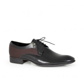 Male official shoes black leather and suede   5026