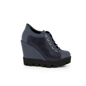 Ladies shoes blue leather  H1-16-600