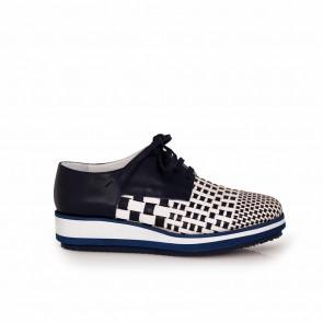 Ladies blue leather shoes T1-237-24