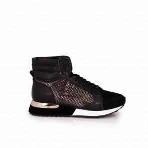 Ladies black leather sneakers T1-404-15