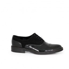 Male official shoes patent leather,croco type leather and suede  CP-4537- black